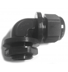STRESS RELIEF CABLE GLANDS BENT TO 90° WITH LOCK NUT INCLUDED - BLACk COLOUR